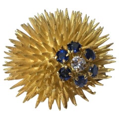 Tiffany & Co. 18 Karat Gold Sapphires Diamond 1970s Sea Urchin Clip Brooch