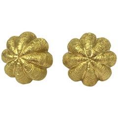 Tiffany & Co. 18 Karat Yellow Gold Sea Urchin Earrings