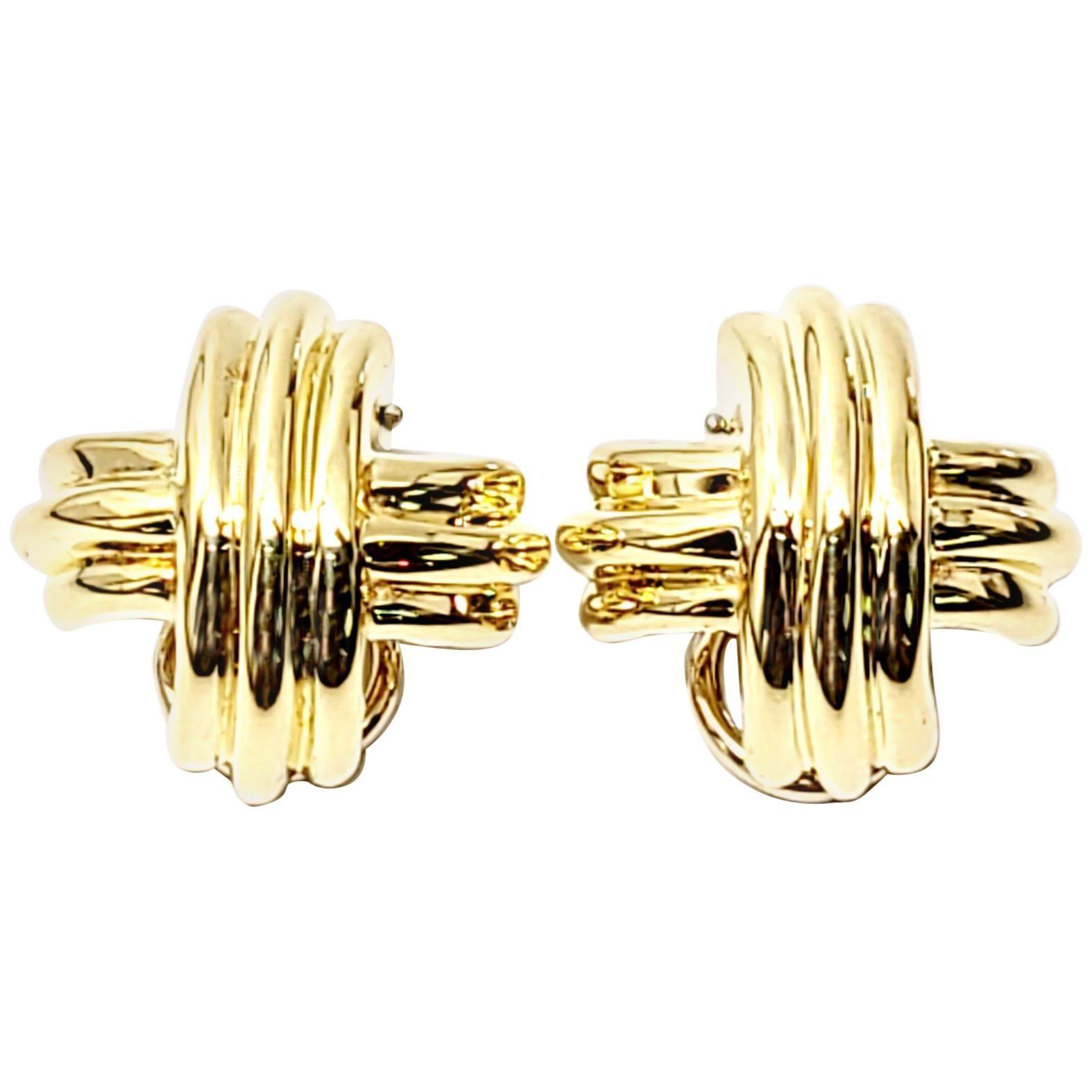 Tiffany & Co. 18 Karat Yellow Gold Signature X Clip-On Earrings