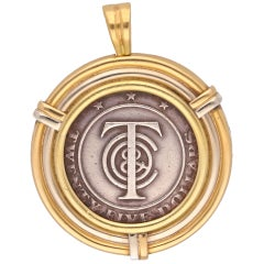 Tiffany & Co. 18 Karat Yellow Gold Silver Coin Pendant