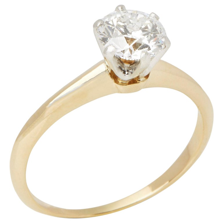 Tiffany & Co. 18 Karat Yellow Gold Solitaire Diamond Ring For Sale