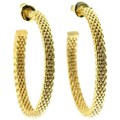 Tiffany & Co. 18 Karat Yellow Gold Somerset Mesh Large Hoop Earrings