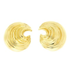 Tiffany & Co. 18 Karat Yellow Gold Spiral Wave Earrings