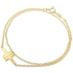 Tiffany & Co. 18 Karat Yellow Gold T-Double Chain Bracelet