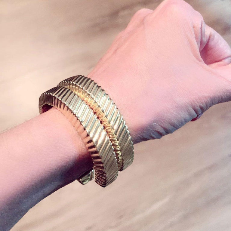 Tiffany & Co. 18 Karat Yellow Gold Textured Cuffs For Sale 5