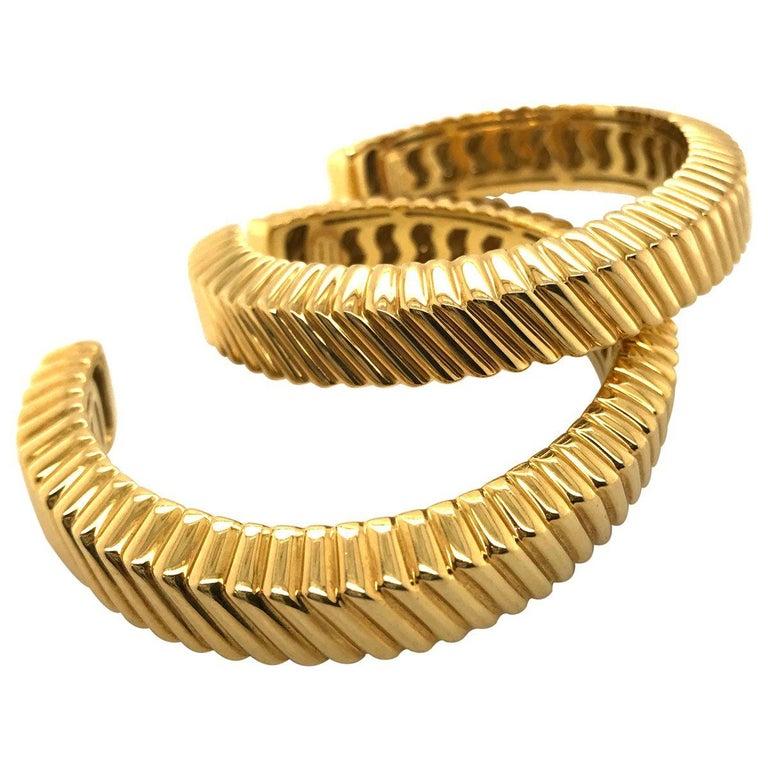 Women's Tiffany & Co. 18 Karat Yellow Gold Textured Cuffs For Sale