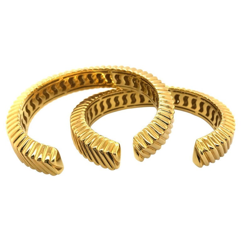 Tiffany & Co. 18 Karat Yellow Gold Textured Cuffs For Sale 1