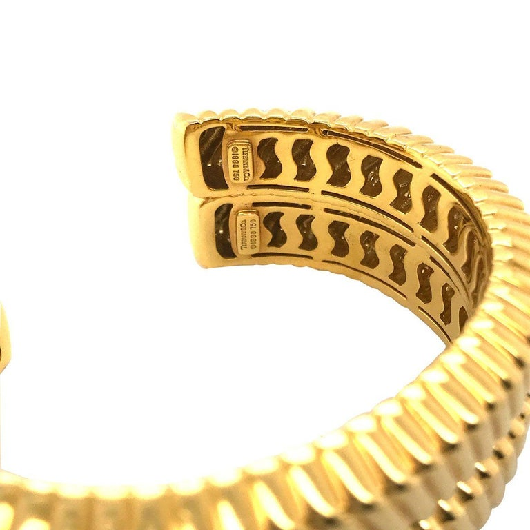 Tiffany & Co. 18 Karat Yellow Gold Textured Cuffs For Sale 2