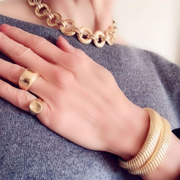 Tiffany & Co. 18 Karat Yellow Gold Textured Cuffs For Sale 3