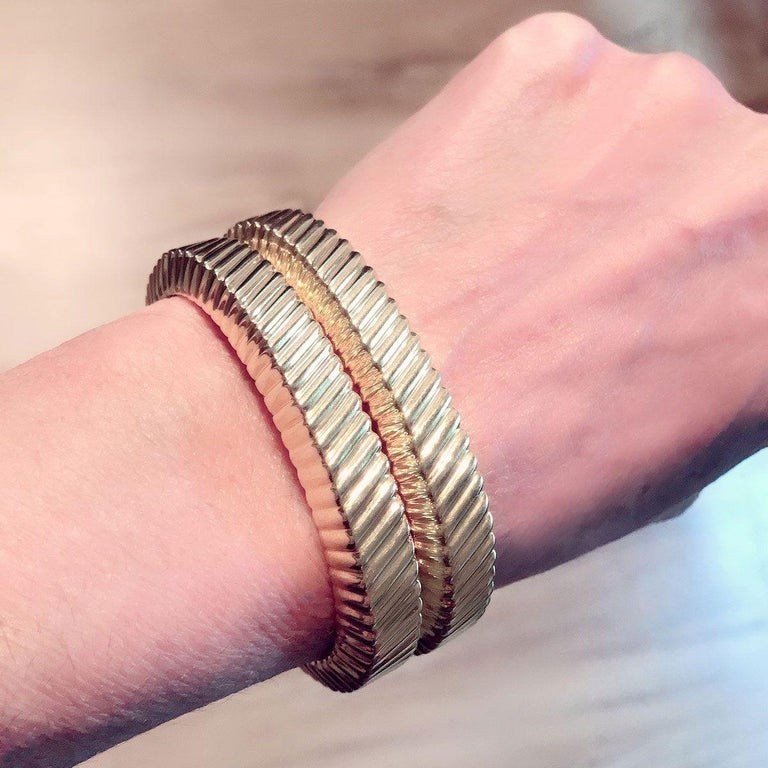 Tiffany & Co. 18 Karat Yellow Gold Textured Cuffs For Sale 4