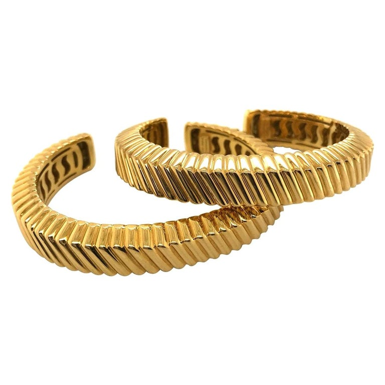 Tiffany & Co. 18 Karat Yellow Gold Textured Cuffs For Sale
