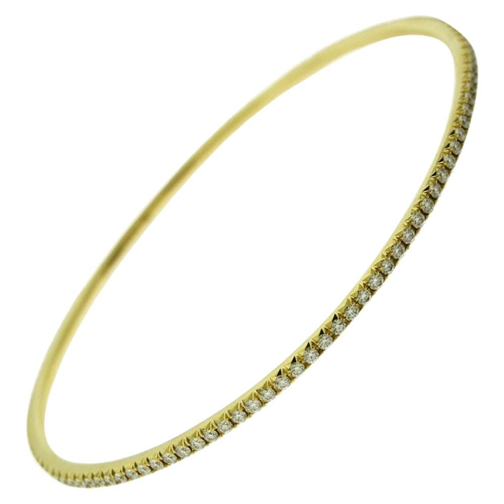 Tiffany & Co. 18 Karat Yellow Gold Tiffany Metro Diamond Bracelet Bangle