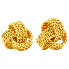 Tiffany & Co. 18 Karat Yellow Gold Tiffany Twist Knot Stud Earrings