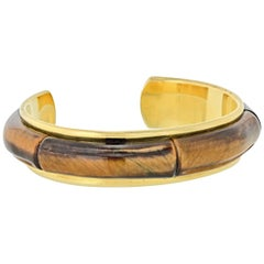 Tiffany & Co 18 Karat Yellow Gold Tiger's Eye Cuff Bracelet