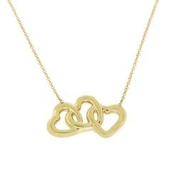 Tiffany & Co. 18 Karat Yellow Gold Triple Interlocking Heart Necklace