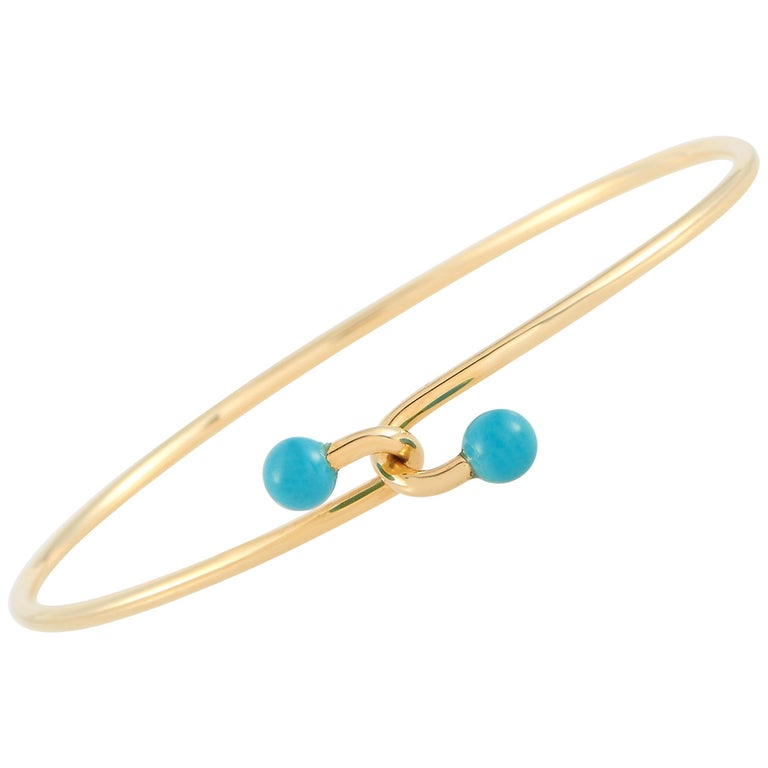 Tiffany & Co. 18 Karat Yellow Gold Turquoise Bracelet