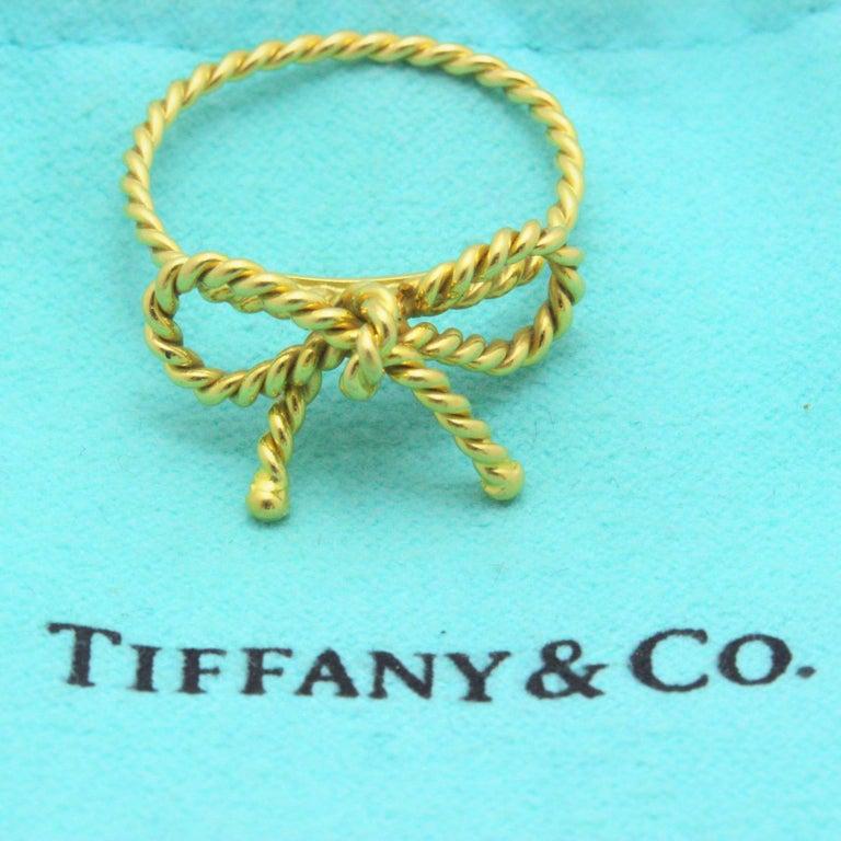 8e66ae44927e1 Tiffany & Co. 18 Karat Yellow Gold Twisted Bow Ring