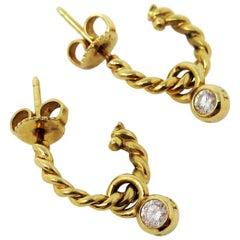 Tiffany & Co. 18 Karat Yellow Gold Twisted Hoop Earrings with Diamond Dangle