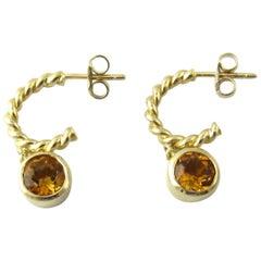 Tiffany & Co. 18 Karat Yellow Gold Twisted Rope Hoop Dangle Citrine Earrings