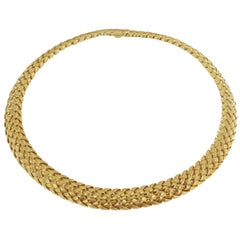 Tiffany & Co. 18 Karat Yellow Gold Vannerie Basket Weave Choker Necklace