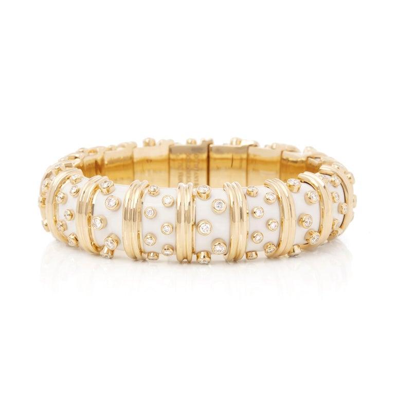 Modern Tiffany & Co. 18 Karat Yellow Gold White Enamel Diamond Schlumberger Bracelet For Sale