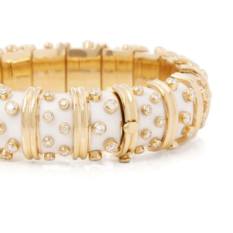 Round Cut Tiffany & Co. 18 Karat Yellow Gold White Enamel Diamond Schlumberger Bracelet For Sale