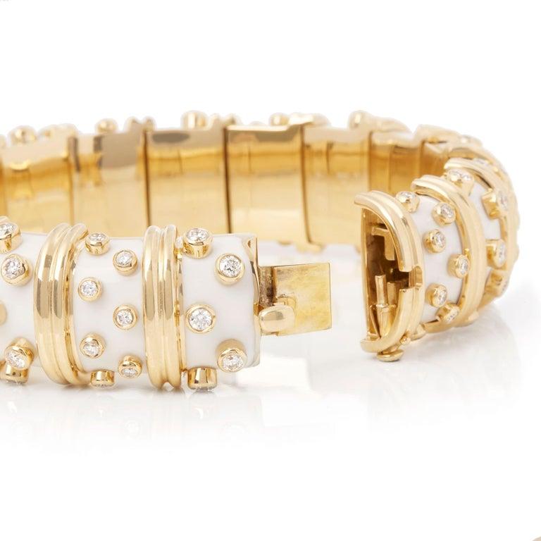 Tiffany & Co. 18 Karat Yellow Gold White Enamel Diamond Schlumberger Bracelet In Excellent Condition For Sale In Bishop's Stortford, Hertfordshire