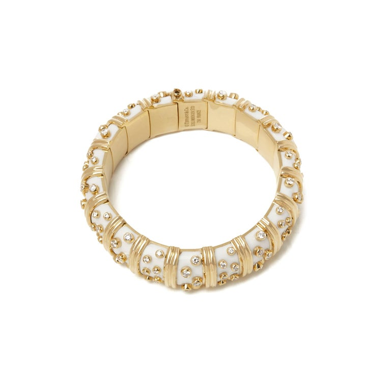 Women's Tiffany & Co. 18 Karat Yellow Gold White Enamel Diamond Schlumberger Bracelet For Sale