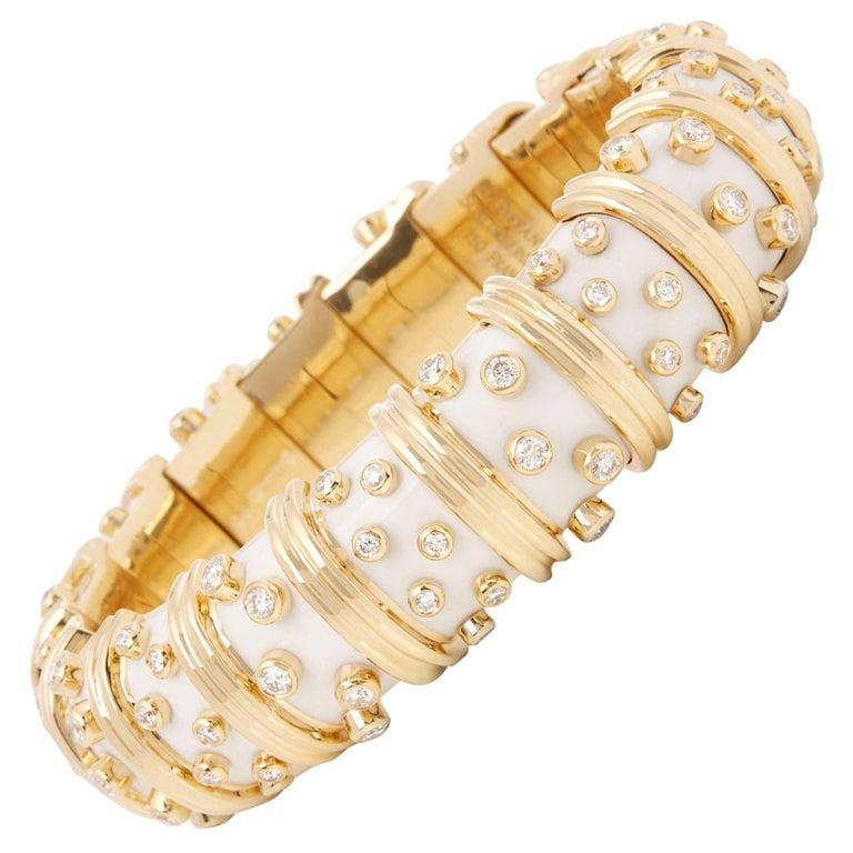 Tiffany & Co. 18 Karat Yellow Gold White Enamel Diamond Schlumberger Bracelet For Sale