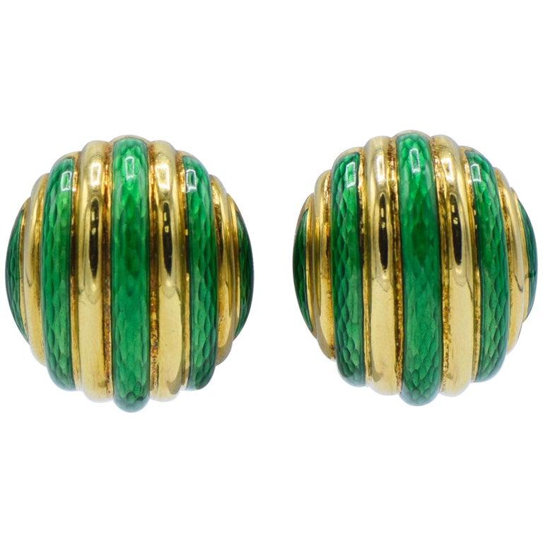 Tiffany & Co. 18 Karat Yellow Gold with Green Enamel Clip-On Earrings For Sale