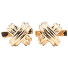 Tiffany & Co. 18 Karat Yellow Gold X Cufflinks