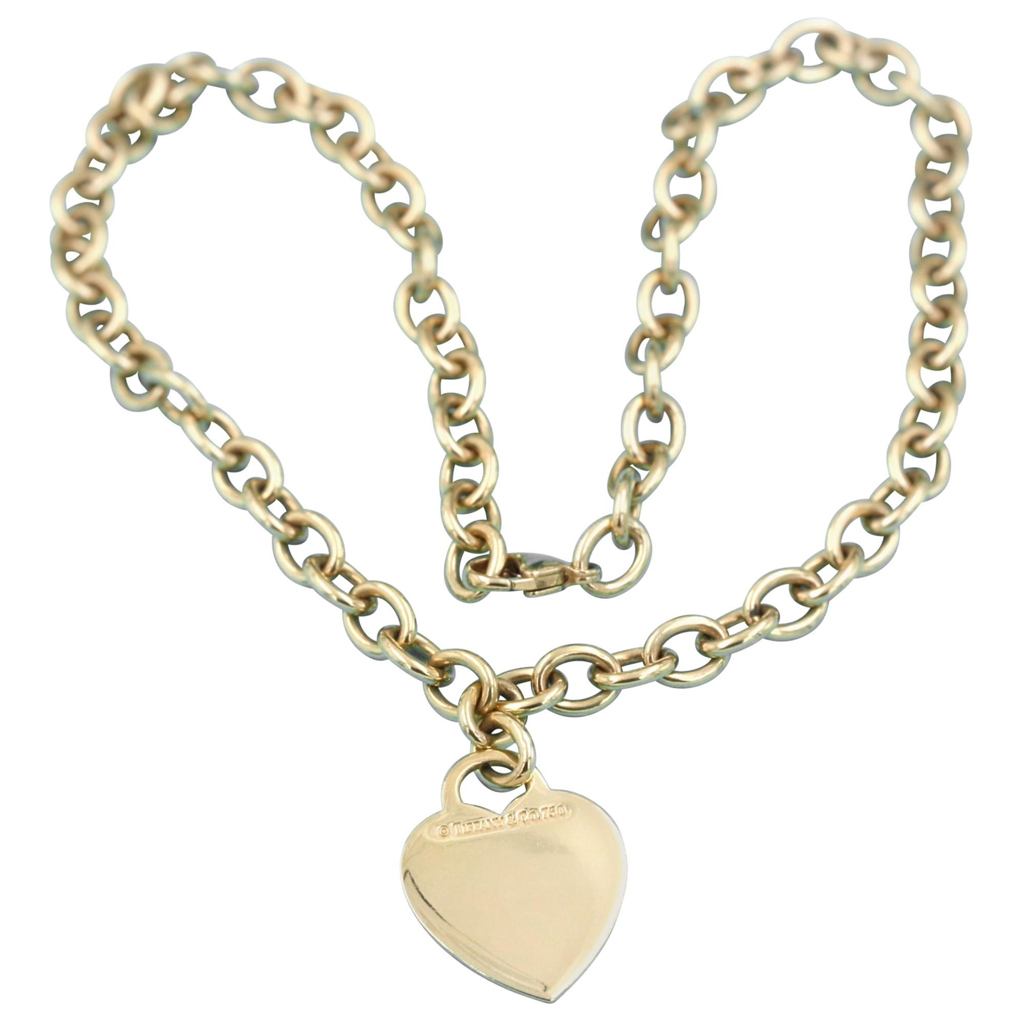49238398f Tiffany and Co. 18 Yellow Karat Gold Heart Tag and Circle Link Chain  Necklace For Sale at 1stdibs