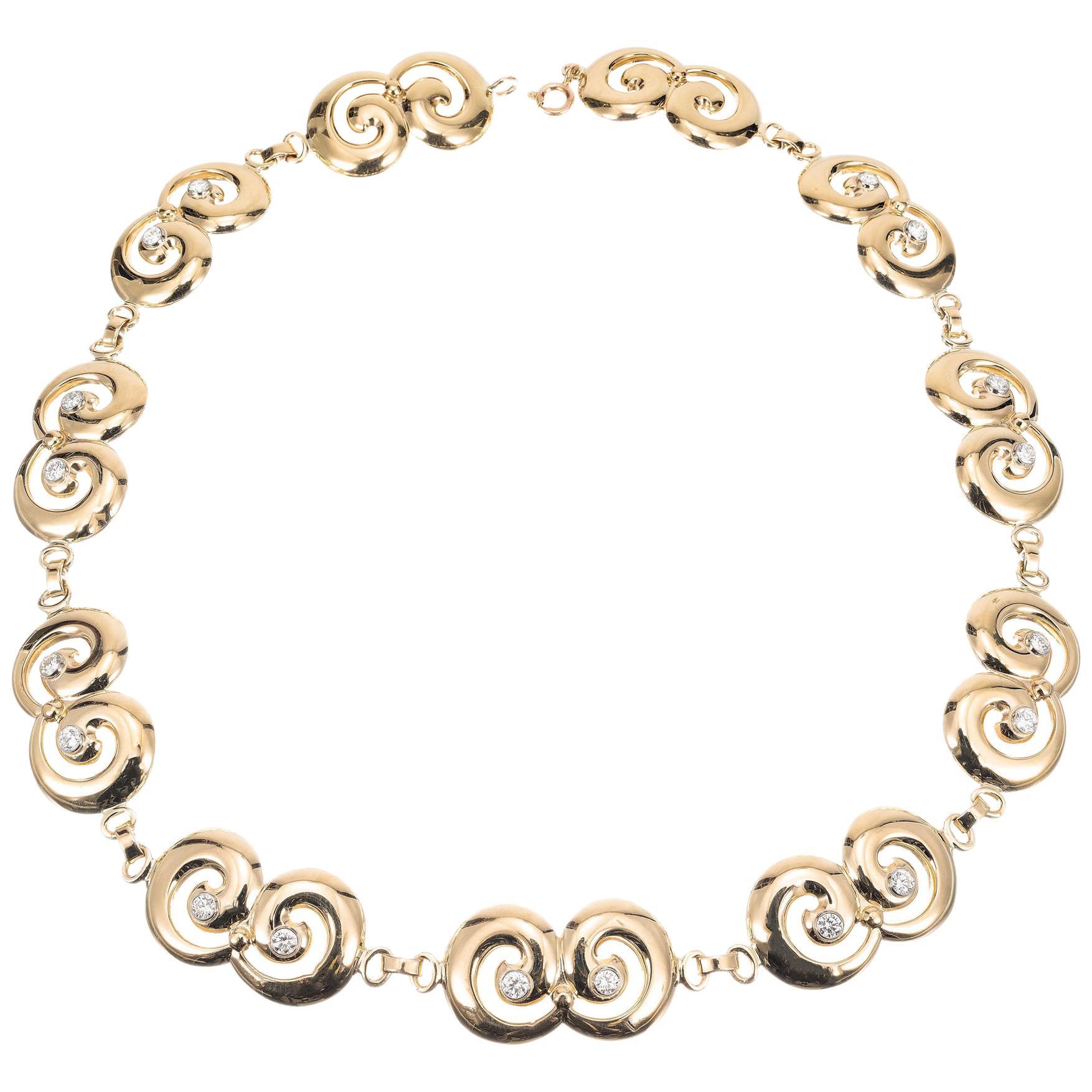 Tiffany & Co 1.80 Carat Diamond Yellow Gold Swirl Link Necklace