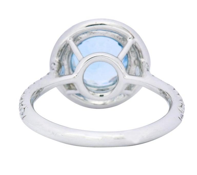 Round Cut Tiffany & Co. 1.85 Carat Aquamarine Diamond Platinum Soleste Cluster Ring For Sale