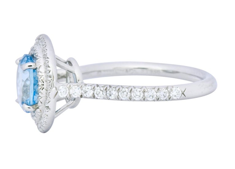 Tiffany & Co. 1.85 Carat Aquamarine Diamond Platinum Soleste Cluster Ring In Excellent Condition For Sale In Philadelphia, PA