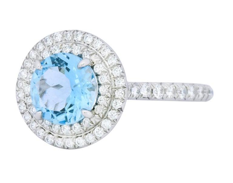 Women's or Men's Tiffany & Co. 1.85 Carat Aquamarine Diamond Platinum Soleste Cluster Ring For Sale