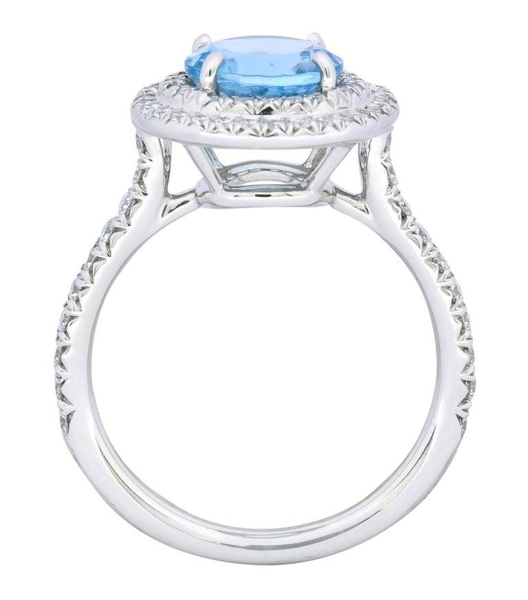 Tiffany & Co. 1.85 Carat Aquamarine Diamond Platinum Soleste Cluster Ring For Sale 1