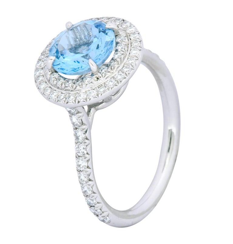 Tiffany & Co. 1.85 Carat Aquamarine Diamond Platinum Soleste Cluster Ring For Sale 2