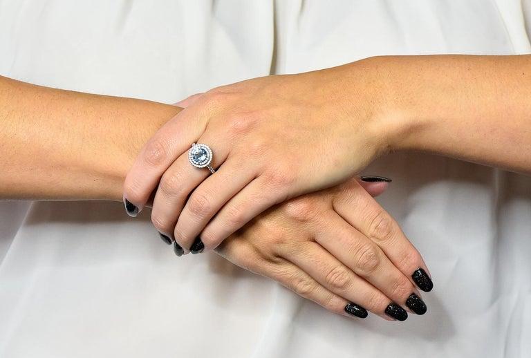 Tiffany & Co. 1.85 Carat Aquamarine Diamond Platinum Soleste Cluster Ring For Sale 3