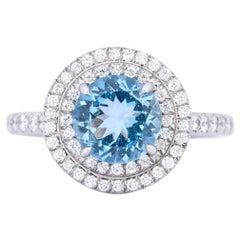 Tiffany & Co. 1.85 Carat Aquamarine Diamond Platinum Soleste Cluster Ring
