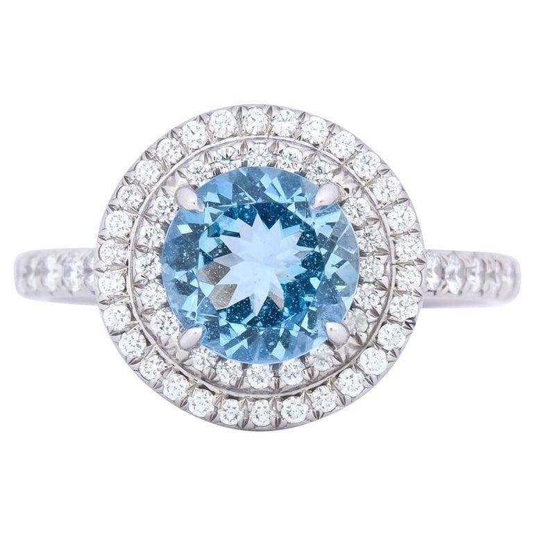 Tiffany & Co. 1.85 Carat Aquamarine Diamond Platinum Soleste Cluster Ring For Sale