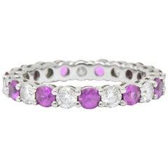 "Tiffany & Co. 1.85 Pink Sapphire Diamond Platinum ""Embrace"" Eternity Band Ring"