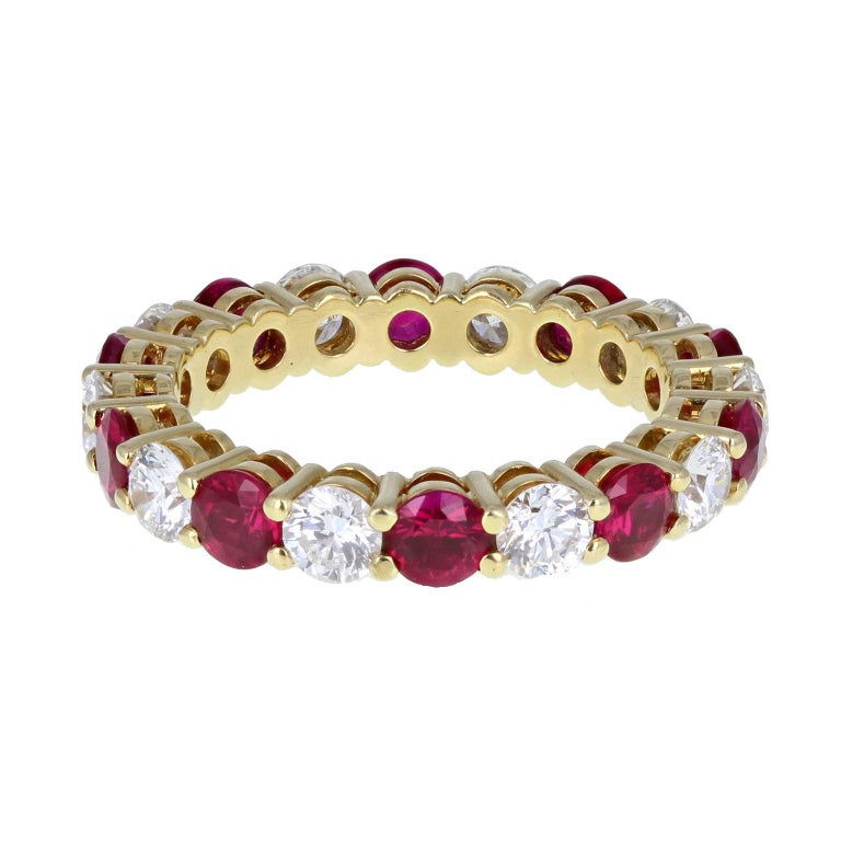 Modern Tiffany & Co. 18 Carat Gold Ruby Diamond Full Hoop Eternity Ring For Sale