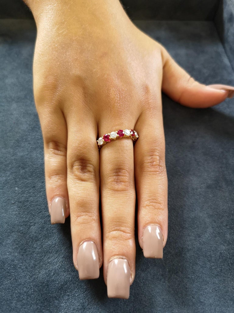 Round Cut Tiffany & Co. 18 Carat Gold Ruby Diamond Full Hoop Eternity Ring For Sale