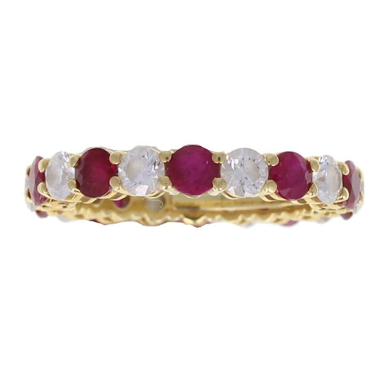 Tiffany & Co. 18 Carat Gold Ruby Diamond Full Hoop Eternity Ring In Excellent Condition For Sale In Newcastle Upon Tyne, GB