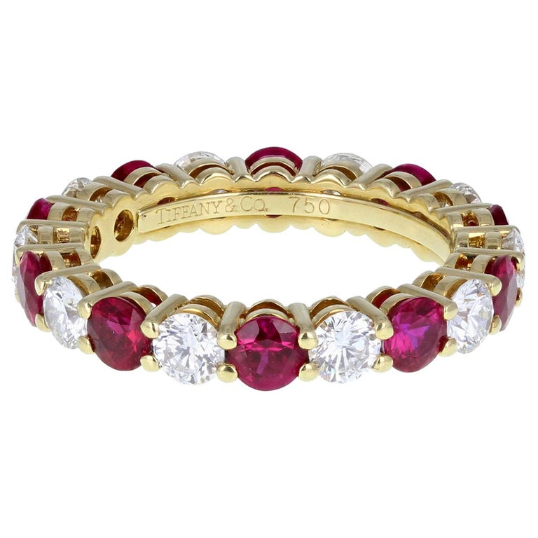 Tiffany & Co. 18 Carat Gold Ruby Diamond Full Hoop Eternity Ring For Sale