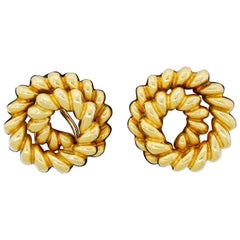 Tiffany & Co. 18K 750 Solid Gold French Twist Clip Earrings Heavy 22.20 Grams