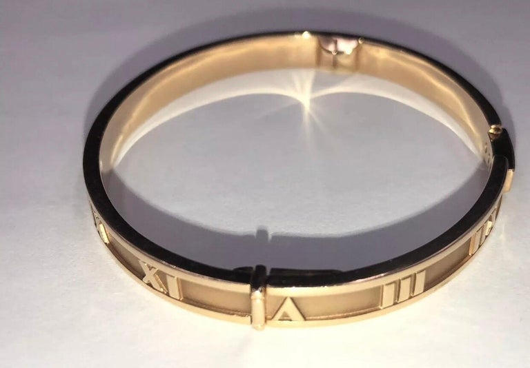 Tiffany & Co. 18k Atlas Closed Hinged Bangle with 3 Round Diamonds, 0.15CTW 4