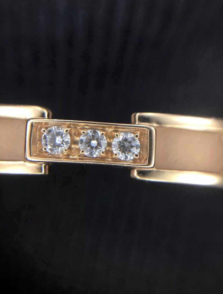 Tiffany & Co. 18k Atlas Closed Hinged Bangle with 3 Round Diamonds, 0.15CTW 5