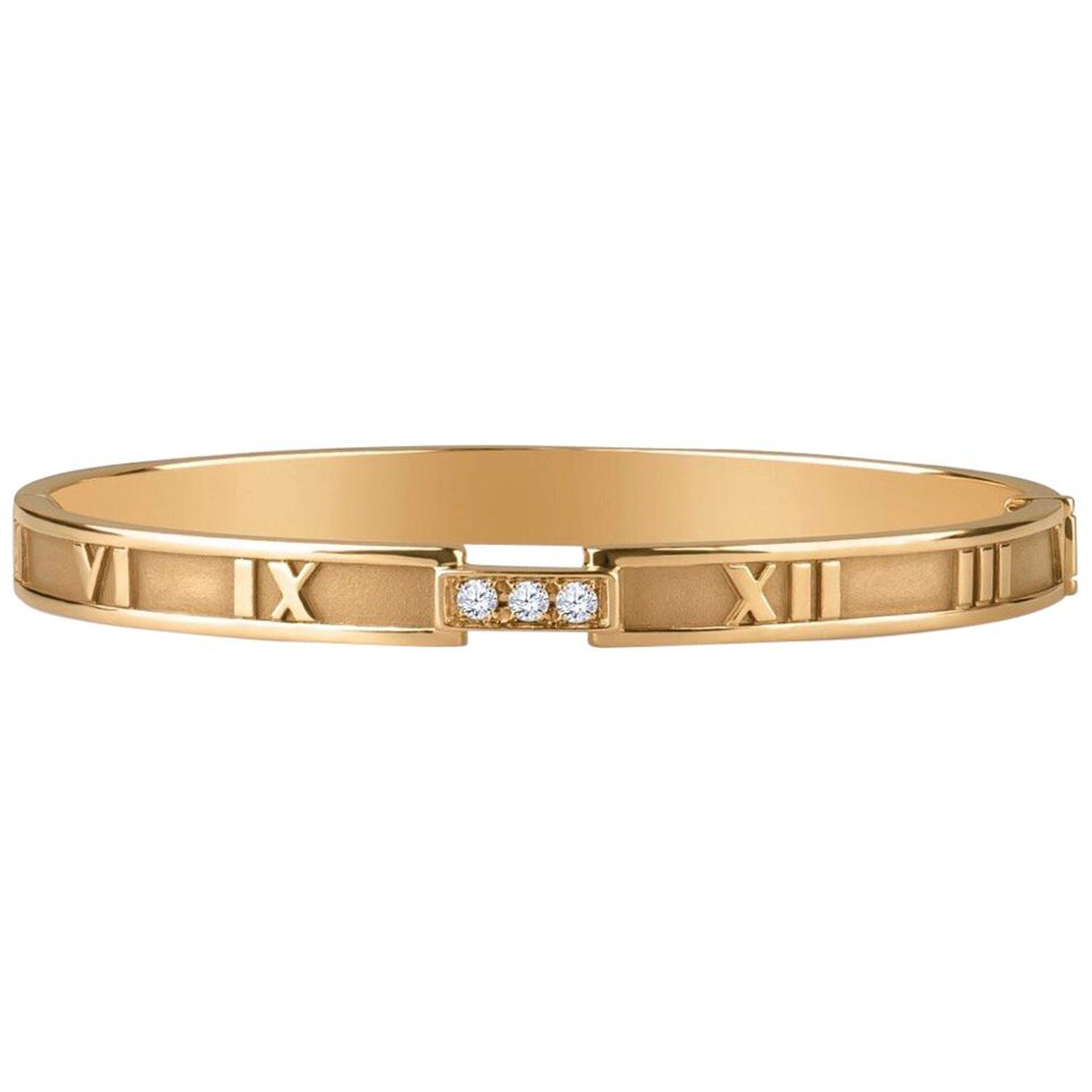 7589b11fd Tiffany and Co. 18k Atlas Closed Hinged Bangle with 3 Round Diamonds,  0.15CTW at 1stdibs